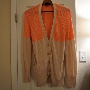 American Eagle Long Knit Cardigan - Coral/Tan